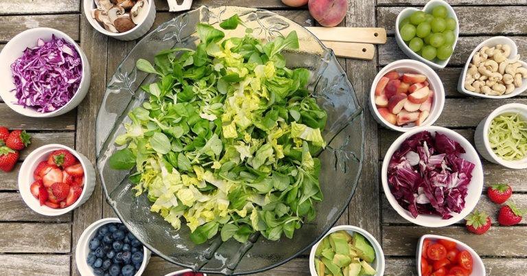 Vegan diet benefits, green leaves, fruits, vegetables, eating healthy food