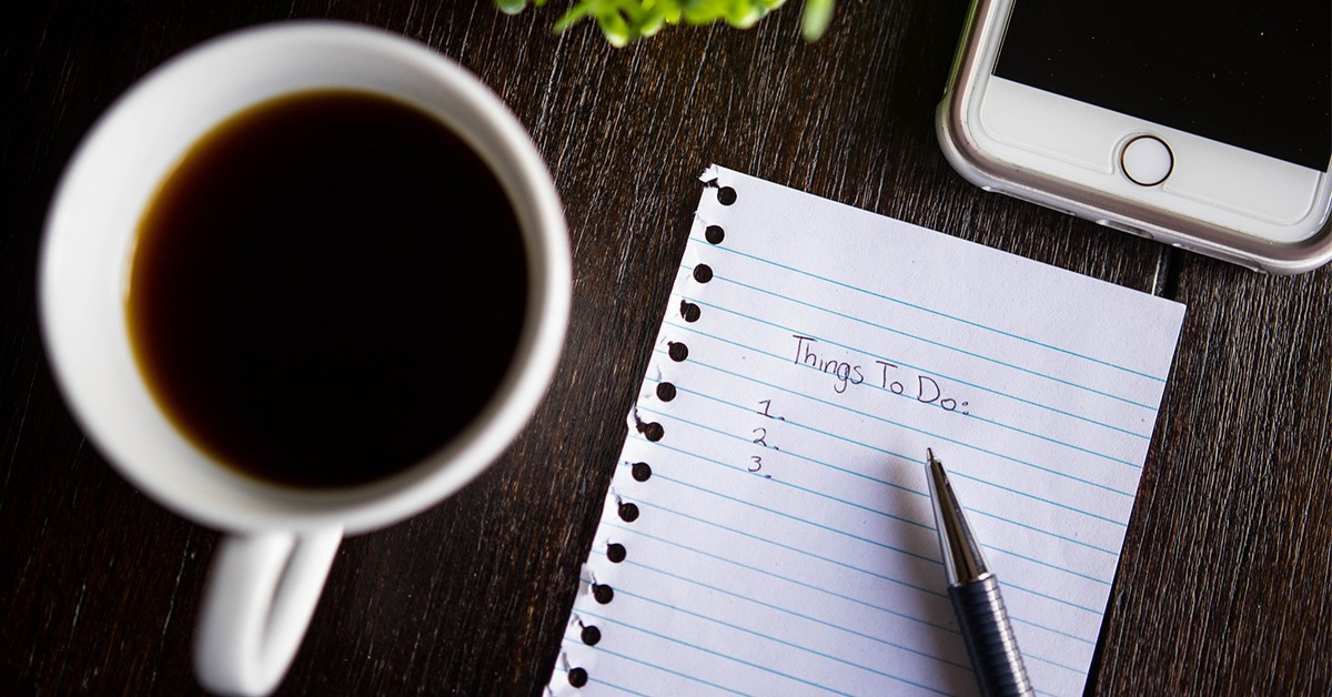 Writing tasks on a to-do list