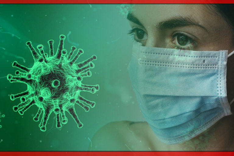 Woman with face mask and virus