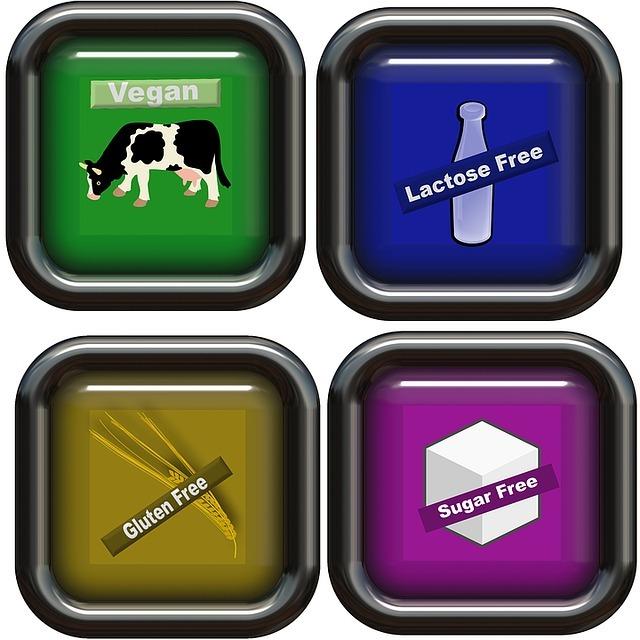 Vegan diet dietary symbols, lactose free, gluten free, sugar free