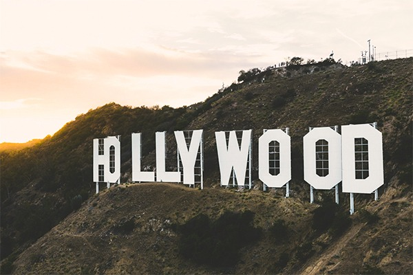 Hollywood sign touched by the sun.