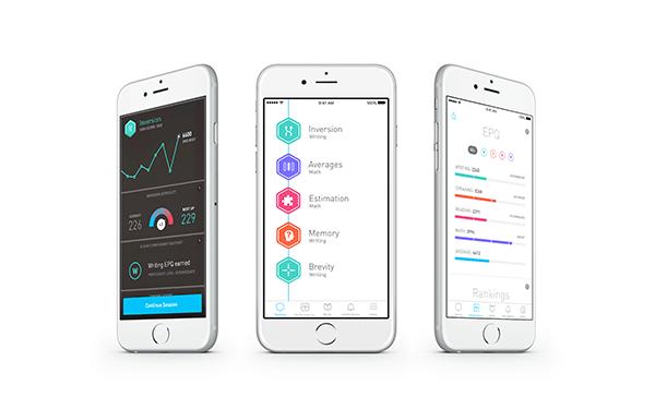 Three phones showing Elevate's brain training interface