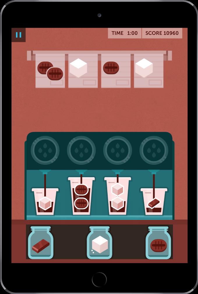 Coffee brewing game in Lumosity brain training app