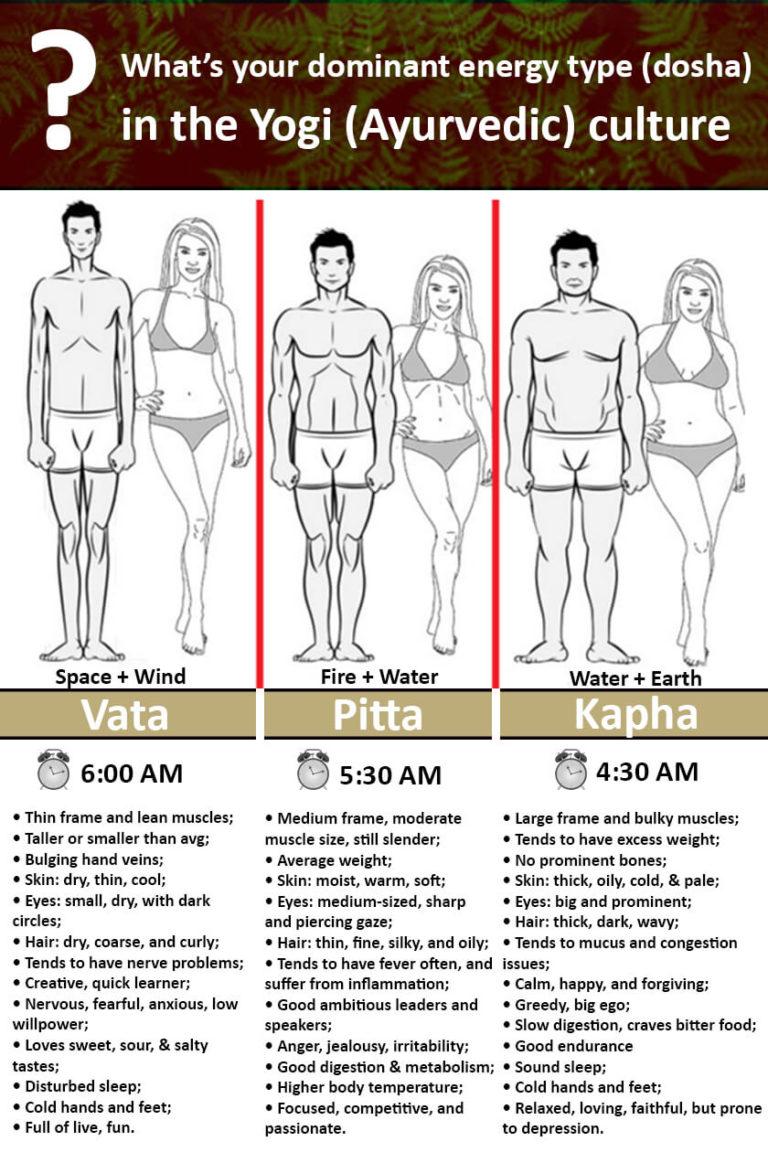 Yogi Body Types (dosha) in Ayurvedic culture: vata, pitta, kapha.