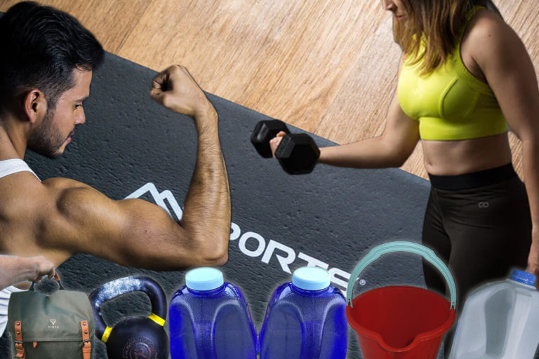 Man and woman doing the ultimate biceps workout at home: arm exercises