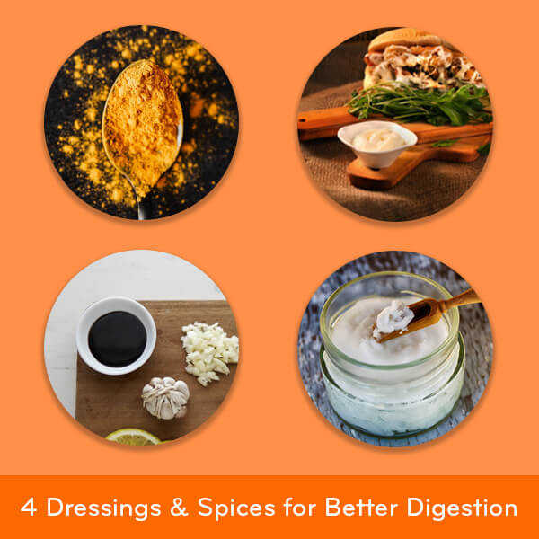 4 dressings and ground spices for better digestion