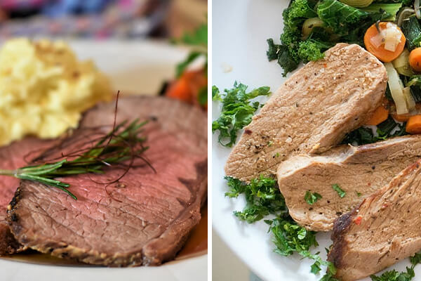Easily digestible foods: Tender beef (left) and pork meat (right)