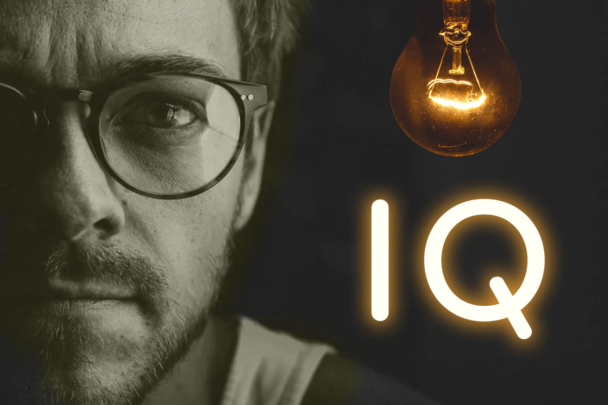 Genius man with high IQ and lightbulb that represents that the man scored better than average on the intelligence scale.