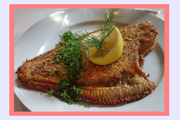 Cooked flounder flatfish - filling high-protein low-calorie foods for easy weight loss