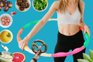 Low-calorie foods for easy weight loss and a slim fit woman with strong abs