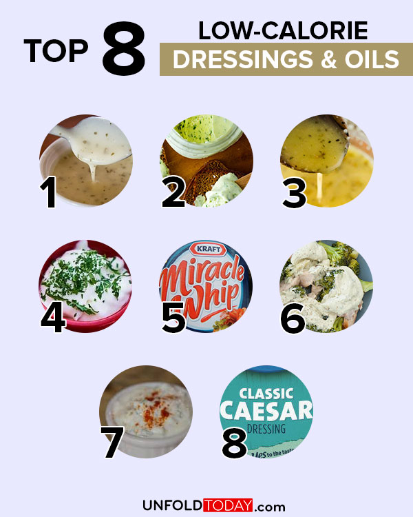 Top eight dressings and oils with the lowest number of calories for easy weight loss