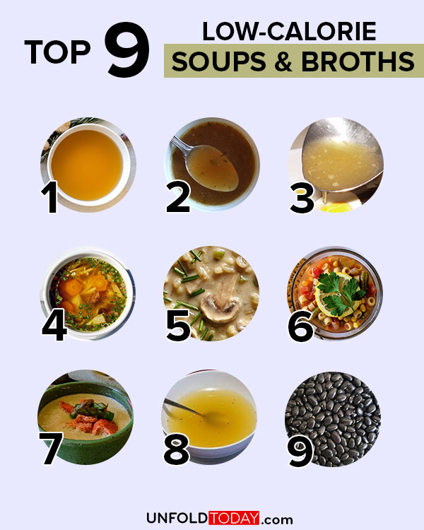 Top nine soups and broths with the lowest number of calories for easy weight loss