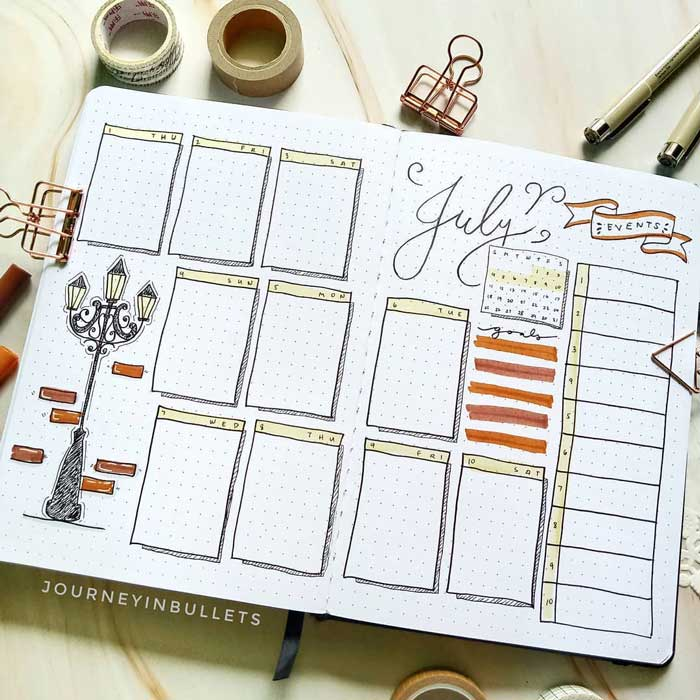 10-day week template for bullet journals