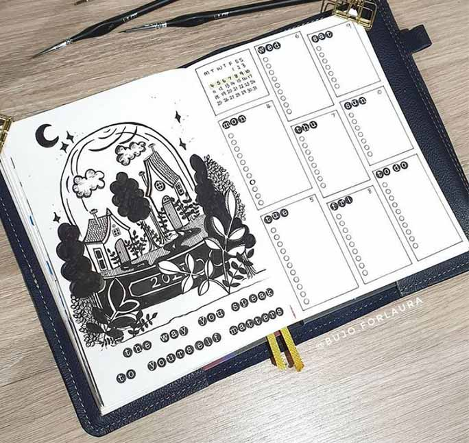 Black and white one-page bullet journal weekly spread template
