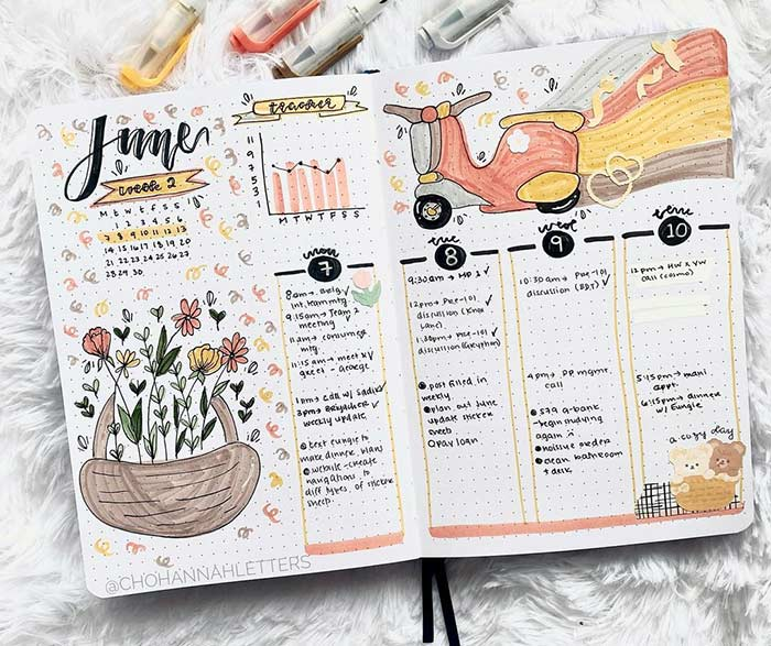 Colorful half-weekly template
