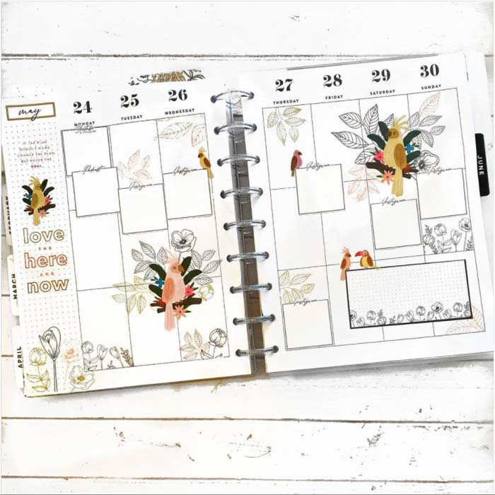 Exotic-themed weekly spread template for a bullet journal