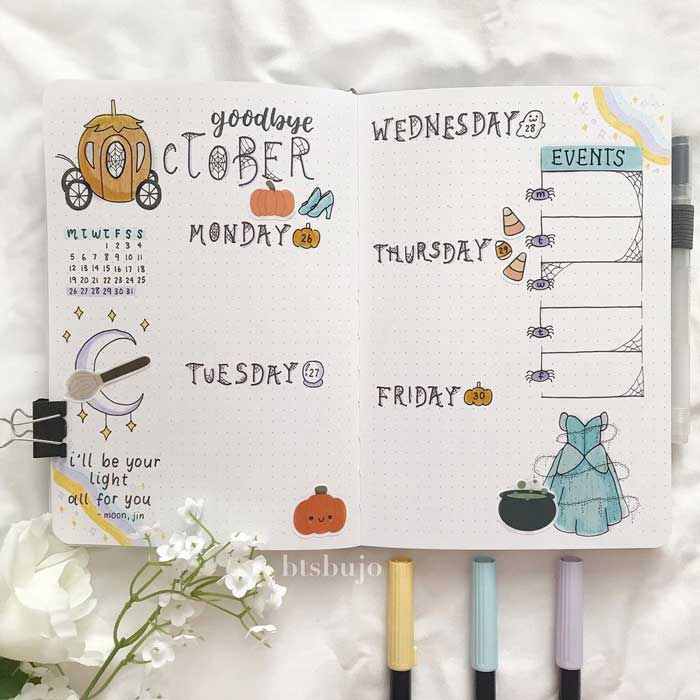Bullet journal weekly spread template for Halloween