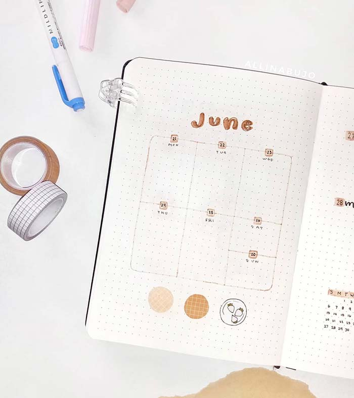 Minimalist one page weekly spread for a bullet journal