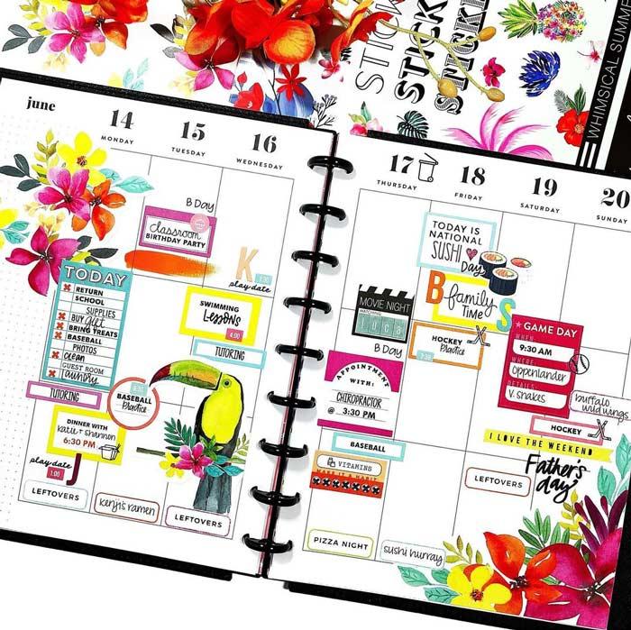Bullet journal weekly spread for summer weeks