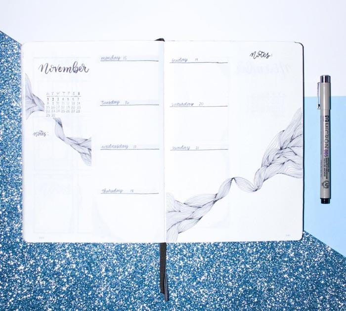 Two-page-long minimalist bujo weekly spread template