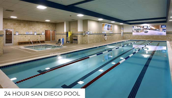 The indoor pool and the hot tub at 24 Hour fitness club in San Diego, one of the gyms with pools.