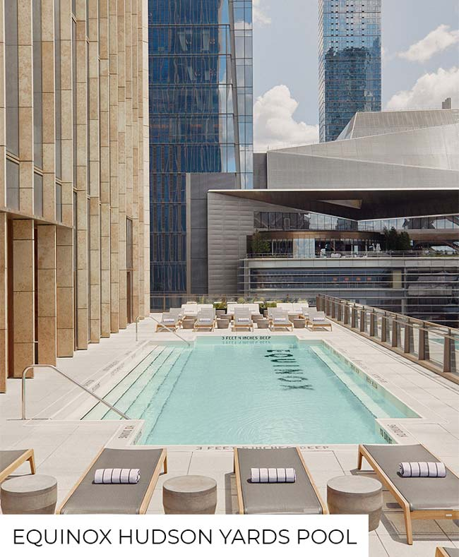 Outside pool at the Hudson Yards Equinox fitness center, one of the gyms with pools.
