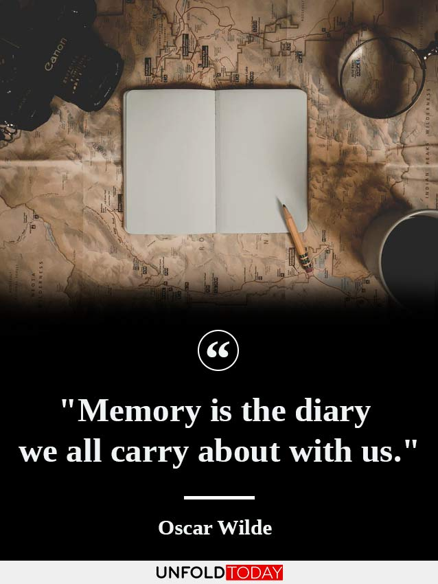 A diary placed on a map, a magnifying glass, a camera, some cards, and a quote by Oscar Wilde saying