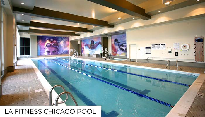The inside pool and hot tub from LA Fitness Chicago gym.