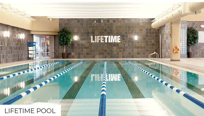 The inside pool from a Lifetime gym.