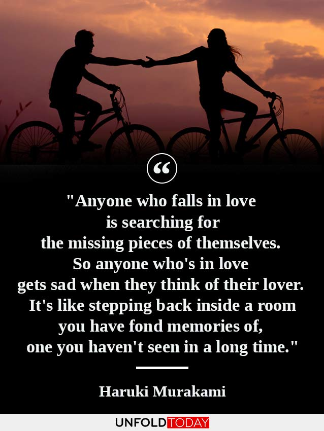 A couple making a love memory as they hold arms while riding bicycles at sunset, and one of the best quotes about memories by Haruki Murakami.