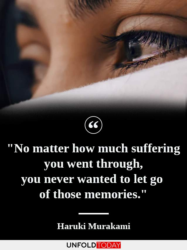 The eyes of a woman in tears and a quote by Haruki Murakami saying