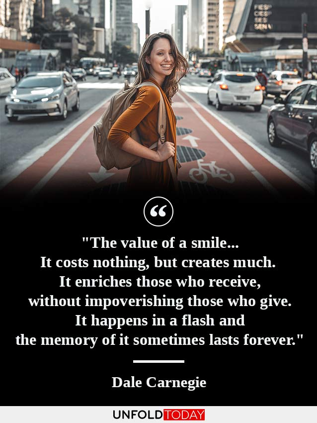 A girl smiling in the middle of a crowded city and a quote by Dale Carnegie on the power of smile.