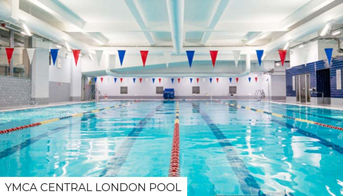Indoor pool at a YMCA gym in Central London.
