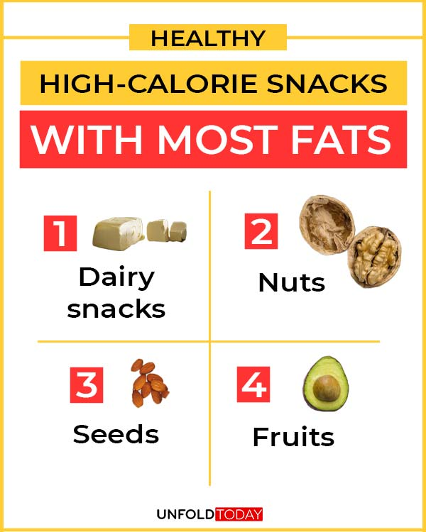 List of healthy high-calorie snacks tha thave the most fats.