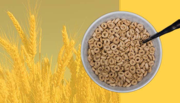 Bowl of whole-grain Cheerios, a high-calorie snack that is rich in carbs.