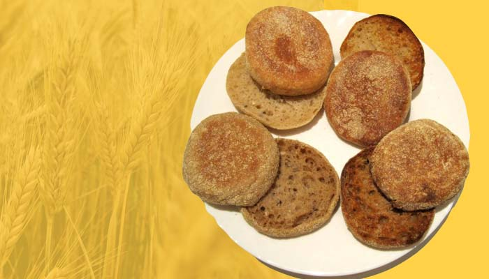 English muffins, high-calorie snacks that are rich in carbs.