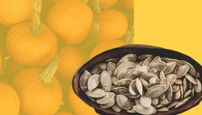 Pumpkin seeds, a high-calorie snack that is rich in fats.
